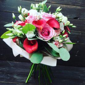 Букет с каллами и розами