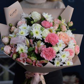 Большой букет с хризантемами
