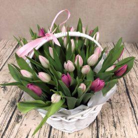 Корзина из 33 - х тюльпанов
