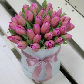 Большая коробка тюльпанов