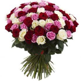Букет из 101 розы трех оттенков