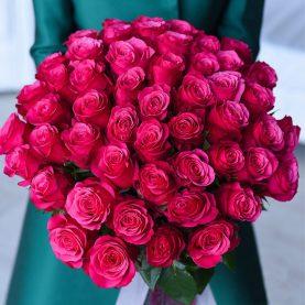 51 темно - розовая роза Эквадор