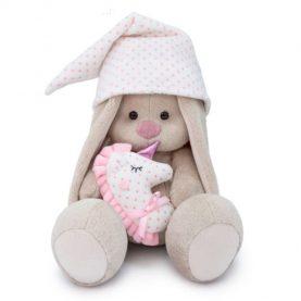 «Зайка Ми с розовой подушкой - единорогом», 18 см