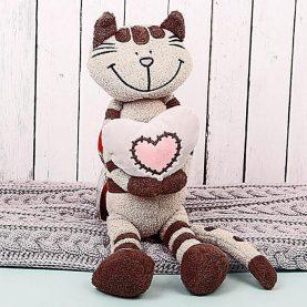 Кот Полосатик с сердцем, 33 см